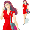 Mädchen im roten Kleid | Stock Vektrografik