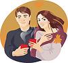Paare und Kaffee | Stock Vektrografik