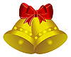 Zwei golden Weihnachtsglöckchen