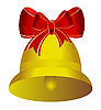 붉은 나비와 함께 황금 크리스마스 벨 | Stock Vector Graphics