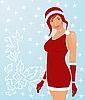 sexy Weihnachtsmädchen im roten Kleid