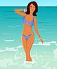 ziemlich braungebrannte Mädchen am Strand