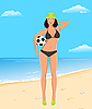 ID 3085539 | Aktiven Mädchen mit Ball am Strand | Stock Vektorgrafik | CLIPARTO