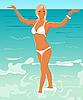 hübsches blondes Mädchen am Strand