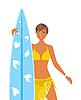 Mä im gelben Badeanzug mit Surfbrett