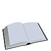 Eröffnet Buch ist auf weiß