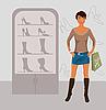 fashion girl shopping in Schuhgeschäft
