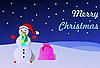 Weihnachtskarte mit einem Schneemann | Stock Vektrografik