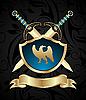 mittelalterlichen Schwertern und goldenen Schild