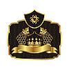 Gold Label mit Reben mit Krone