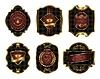 Set von bunten goldgerahmten Etiketten