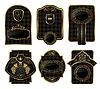 Set schwarz-gold dekorativen Rahmen