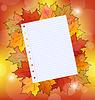 Bunter Herbst Ahornblätter mit Notizpapier
