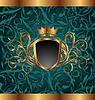 Goldener Vintage-Rahmen mit heraldischen Elementen