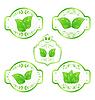 Reihe von grünen Öko-Labels mit Blättern bac