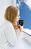 ID 3104917 | Młoda piękna kobieta picia kawy | Foto stockowe wysokiej rozdzielczości | KLIPARTO