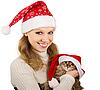 ID 3104945 | Piękna Pani. Santa z kotka | Foto stockowe wysokiej rozdzielczości | KLIPARTO