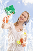 ID 3123668 | Młoda kobieta mycia okien | Foto stockowe wysokiej rozdzielczości | KLIPARTO
