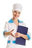 Attractive young woman doctor shaking hands | Stock Foto