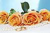 Hochzeits-Rosen mit Kette und Goldringe | Stock Foto