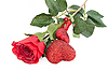 Rote Rose und Herzchen | Stock Foto
