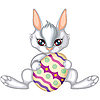 Osterhase hält Ei