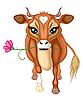 braune Kuh mit Blume