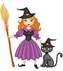 Hexe mit Besen und Kätzchen