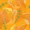 Muster mit Gold-Fisch