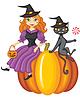 Hexe und Katze sitzt auf Kürbis