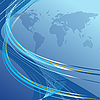 Синий абстрактный фон с картой мира | Векторный клипарт