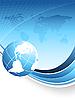 蓝色抽象背景与世界地图 | 向量插图