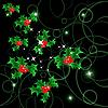 黑色圣诞背景与冬青浆果 | 向量插图