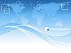 Blauer abstrakter Hintergrund mit Weltkarte | Stock Vektrografik