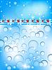 蓝色圣诞背景与气泡和冬青浆果 | 向量插图