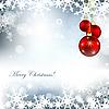 Weihnachtskarte mit Kugeln und Schneeflocken