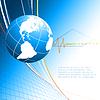 蓝色的背景与全球 | 向量插图
