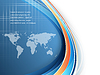 明亮的企业与世界地图背景 | 向量插图