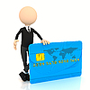 3d businessman with credit card | Stock Illustration