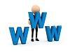 3d Geschäftsmann mit blauen Buchstaben www | Stock Illustration