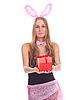 ID 3092607 | Mädchen gekleidet wie ein Kaninchen mit Geschenk | Foto mit hoher Auflösung | CLIPARTO