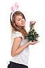 ID 3092641 | 女孩打扮成兔子的圣诞树在手中 | 高分辨率照片 | CLIPARTO