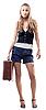 ID 3107638 | Красивая девушка в шортах с чемоданом | Фото большого размера | CLIPARTO