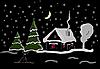 Новогодний вечер в деревне | Иллюстрация