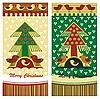 Weihnachtskarten mit Tanne und Vögeln