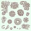 Set von ornamentalen Blumenmustern