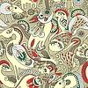 Nahtloses Muster mit Fantasie-Tieren | Stock Vektrografik