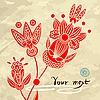 Hand-Drawn Abstrakte Blumen Hintergrund