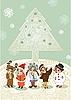 Weihnachtsbaum und Kinder in Maskeraden-Kostümen