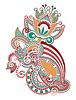 Hand draw line art kunstvollen Blumen-Design. Ukrainischen trad